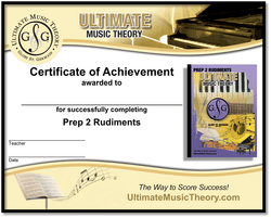 Prep 2 Rudiments Certificate of Achievement