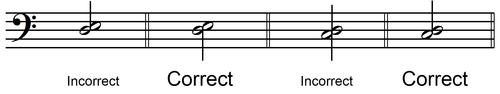 stem direction half note harmonic 2nd