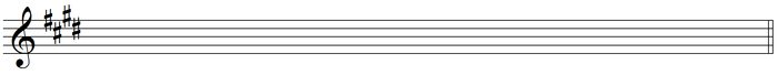 harmonic chromatic scale - staff Key Signature