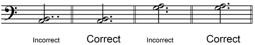dotted notes - space to line harmonic 2nd