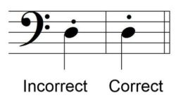 Staccato Dot - Incorrect and Correct - Example 1