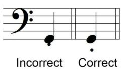 Example 2 of Incorrect Staccato Dot Placement