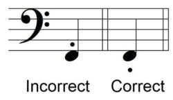 Example 3 of Incorrect and Correct Staccato Dot Placement