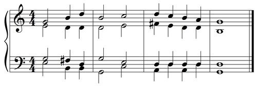 Modern Vocal Score Bar Lines in Close Position Without Lyrics