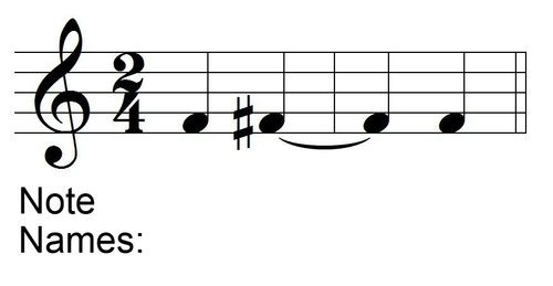 Naming Tied Notes with Accidentals Example 1 - Question