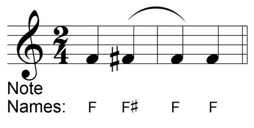 Naming Tied Notes with Accidentals - Slur not Tie Example 2