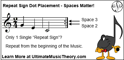 Repeat Sign Dot Placement