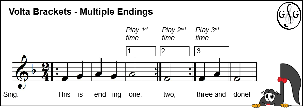 Volta Brackets with Multiple Endings