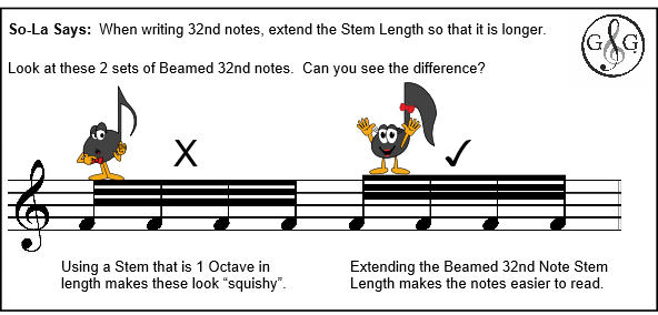 UMT Beamed 32nd Note Stem Length Incorrect and Correct