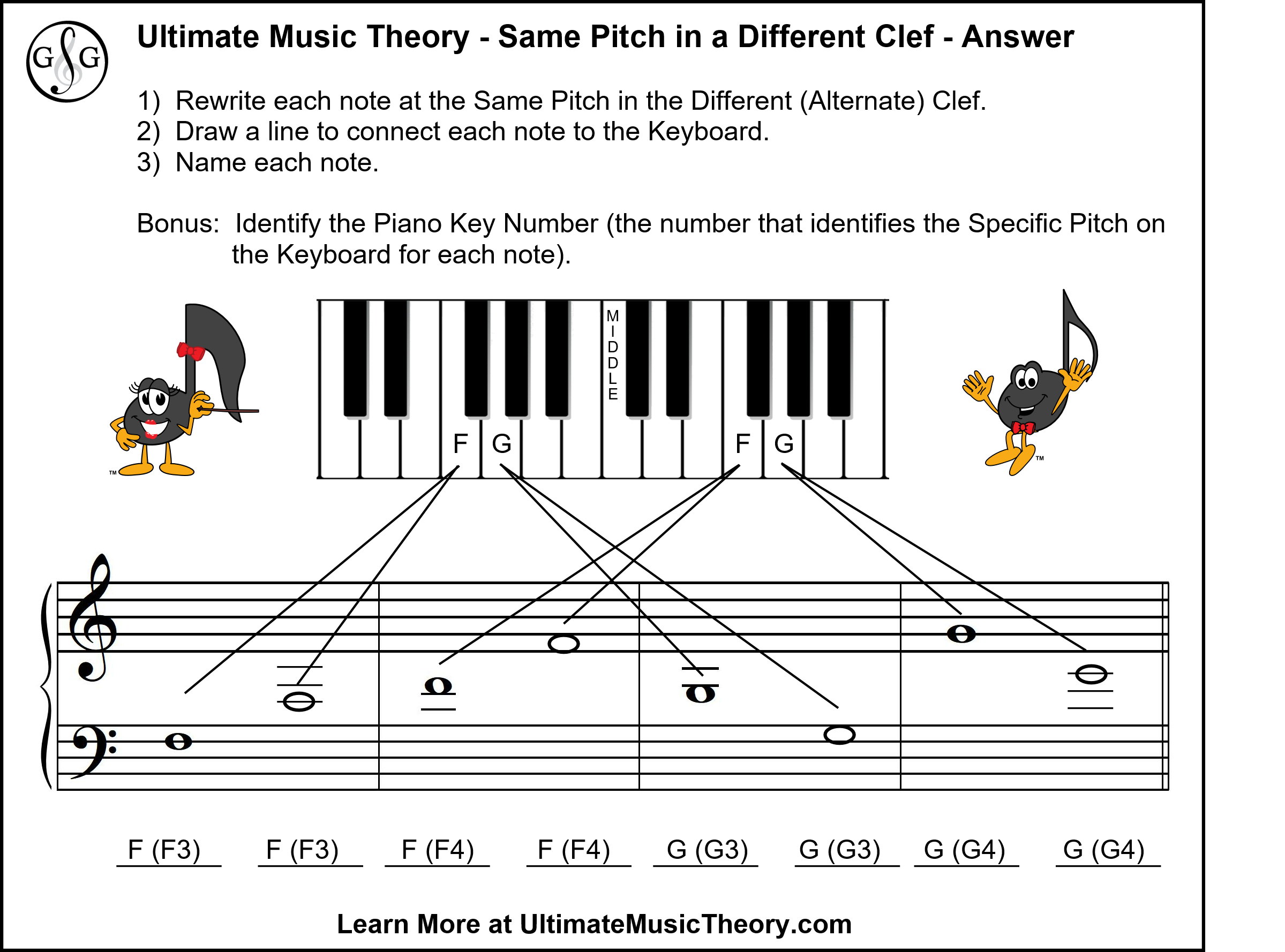 Ultimate Music Theory Same Pitch in a Different Clef Pop Quiz Answers