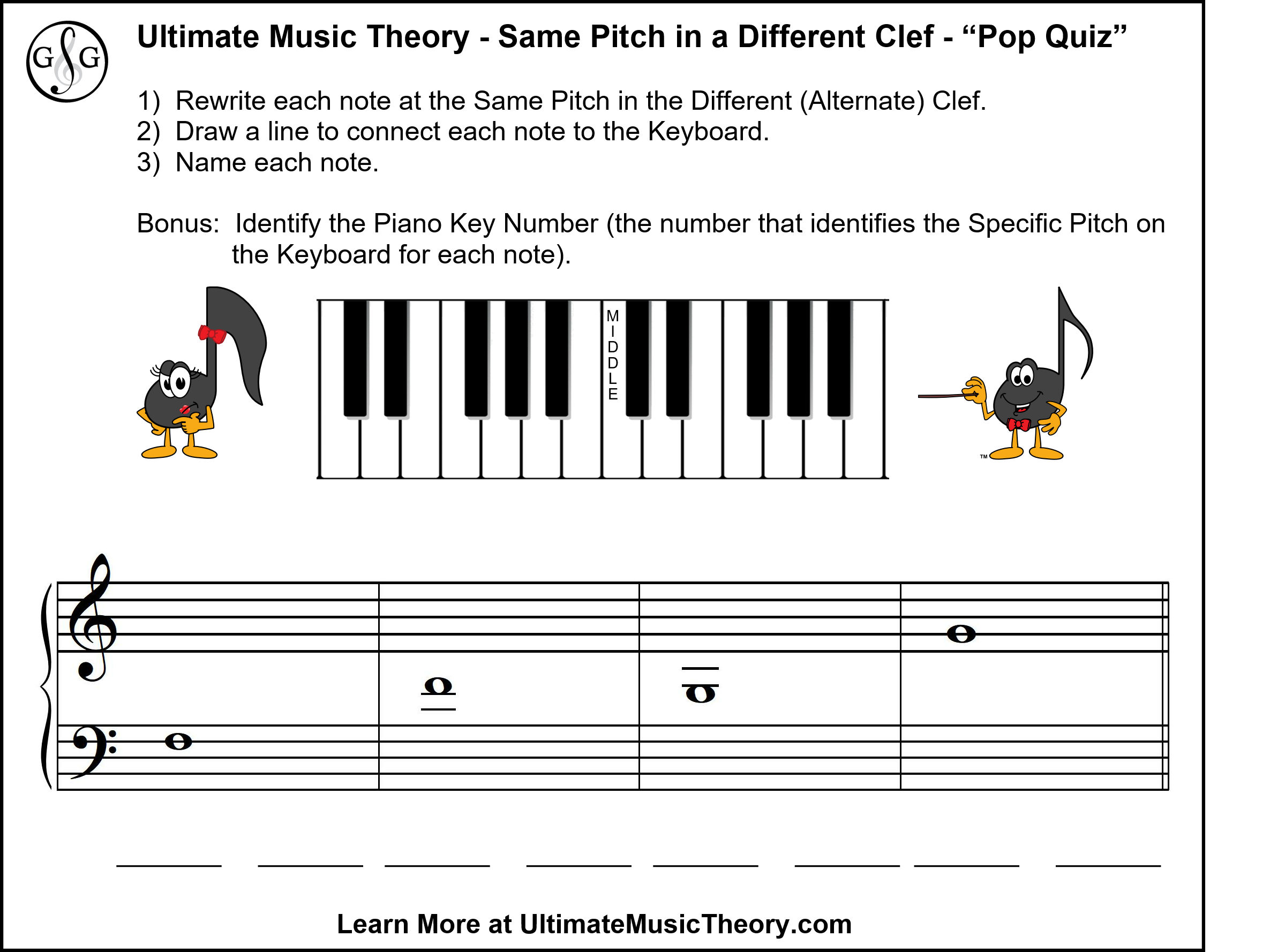 Ultimate Music Theory Same Pitch in a Different Clef Pop Quiz