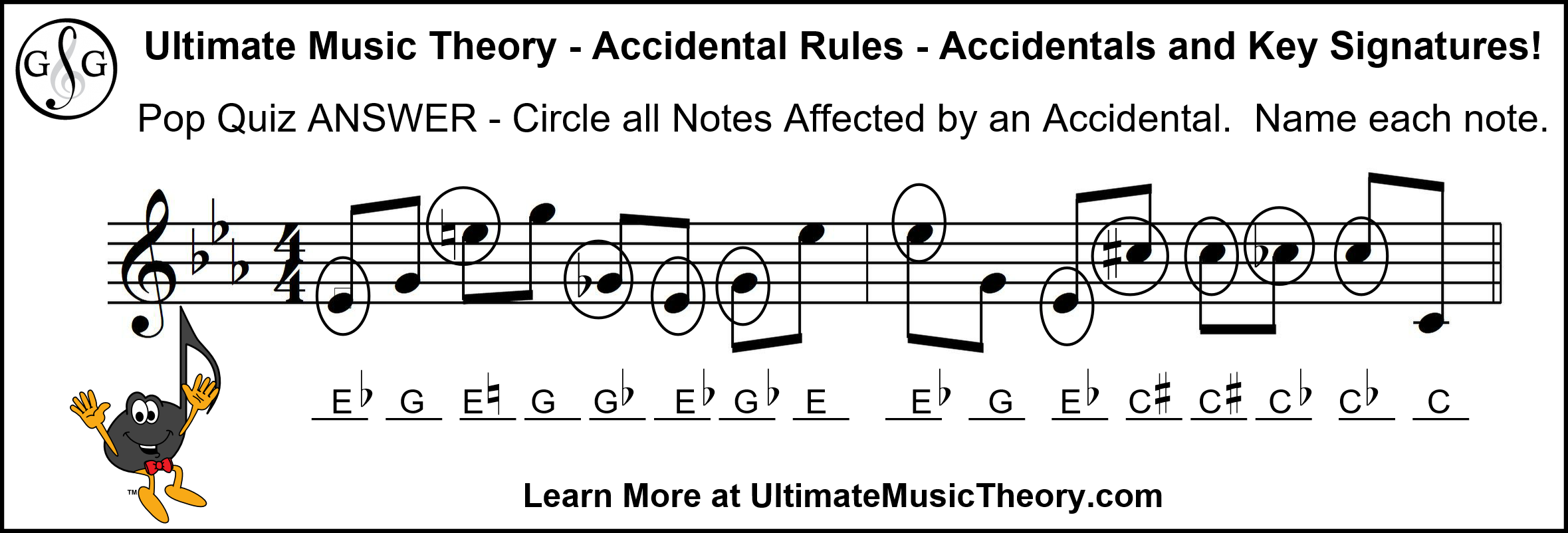 UMT Accidentals and Key Signatures Pop Quiz Answers