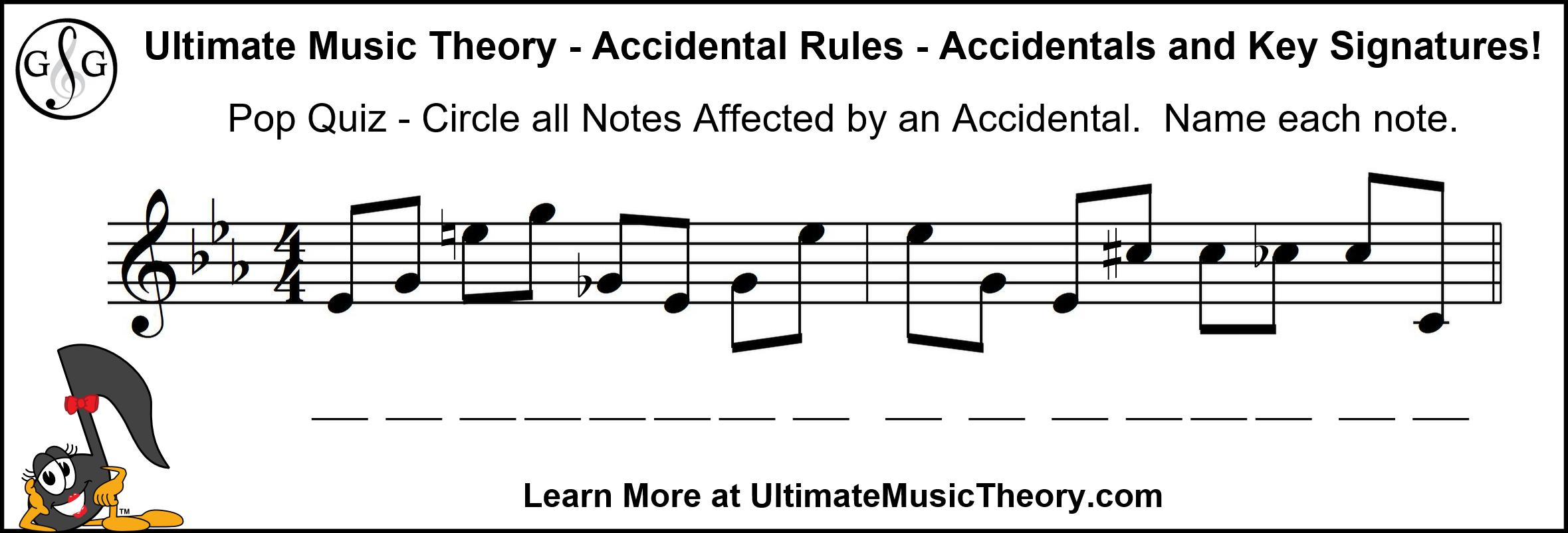 UMT Accidentals and Key Signatures Pop Quiz