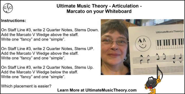 UMT Articulation Marcato writing on your Whiteboard