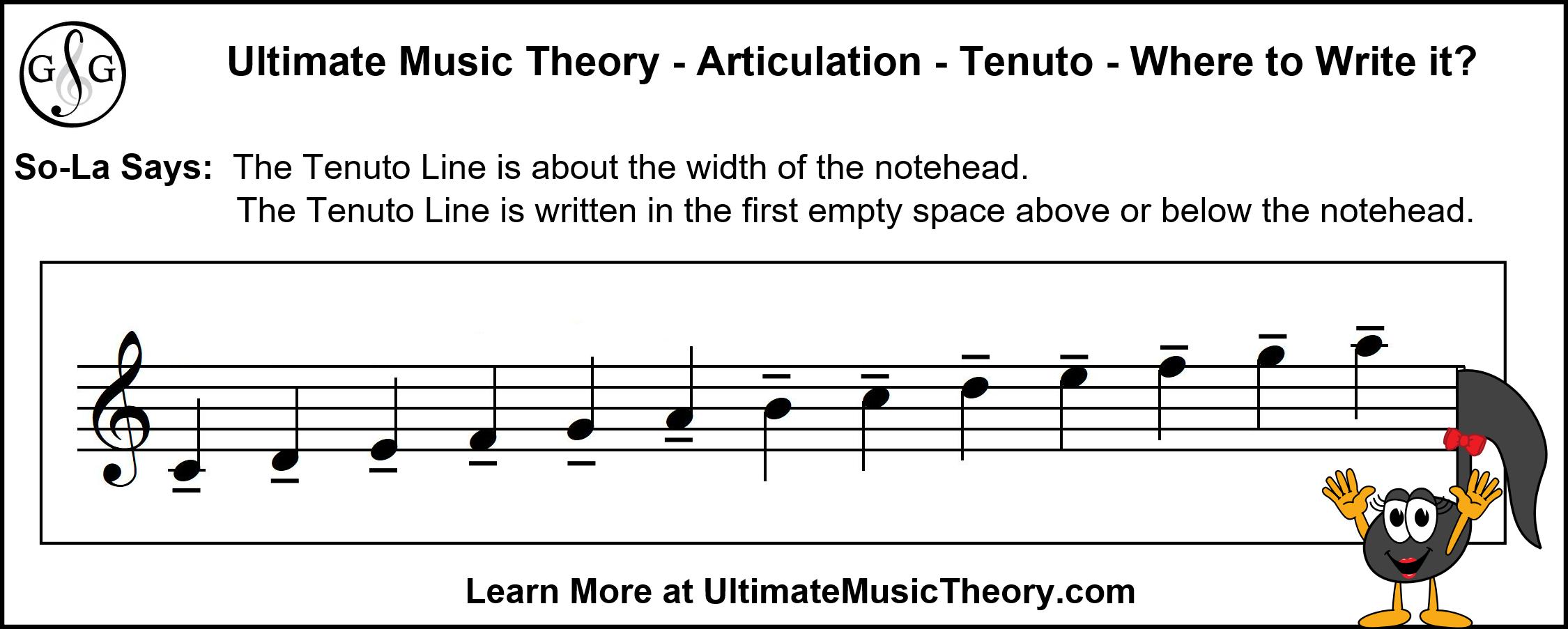 UMT - Tenuto - Where to write the line